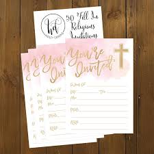 Invitation Cards For Dedication Of A Baby Amazon Com 50 Pink Religious Invitations Confirmation Holy