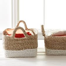 Large Basket For Storing Throw Pillows Beach House Storage Bins With Handles The Container Store