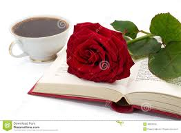 open book with beautiful red rose and cup of coffee stock photo