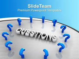 blue question marks around the word marketing powerpoint templates