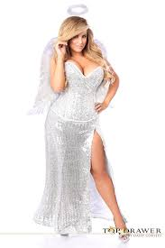 White Angel Halloween Costume Size Sequins Corset White Angel Costume Long Skirt Wings