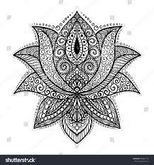 ornamental lotus flower ornament stock vector 583847716