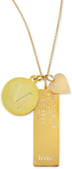 name tag necklace 14k gold plated cari 3 pendant necklace with initial