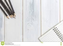 Wooden Table Top View Notebook And Pencil On Wooden Table Top View Concept Of