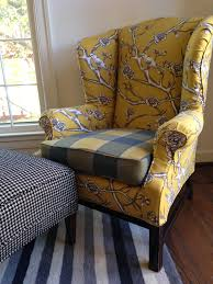 furniture yellow branches wingback chair cover pattern ideas