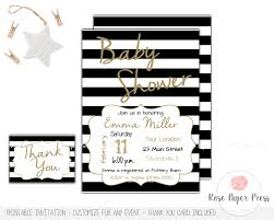 Baby Shower Invitations And Thank You Cards Black And White Stripes Baby Shower Invitation Set Custom