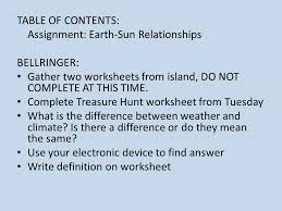 table of contents assignment earth sun relationships bellringer