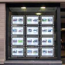 led window display acrylic back lit poster frame estate agency