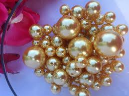 pearl vase fillers 80 gold pearl assorted size vase filler beads for wedding decor