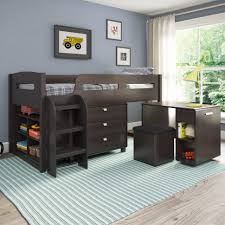 bedroom decor brown wooden bunk bed with stairs on cream carpet