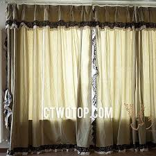 Black Floral Curtains Casual Cheap Simple Beige Burlap Curtains With Black Floral Lace
