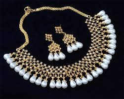 jewelry necklace pearl set images Bollywood fashion jewelry necklace earring set cz ad pearl gold jpg