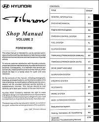 2001 hyundai tiburon manual 1998 hyundai tiburon repair shop manual original 2 vol set