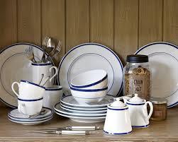 brasserie blue banded porcelain dinnerware place settings