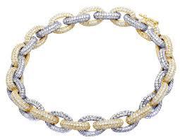 link bracelet with diamonds images Men 39 s 14k two tone real diamond hermes rolo link bracelet 18 1 5 jpg