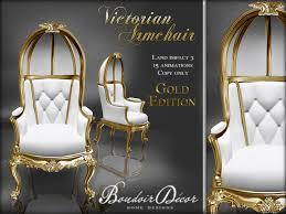 Victorian Armchair Second Life Marketplace Boudoir Victorian Armchair Gold White