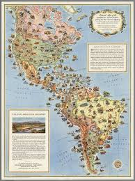 The Americas Map Pictorial Map Of The Americas Featuring The Pan American Highway