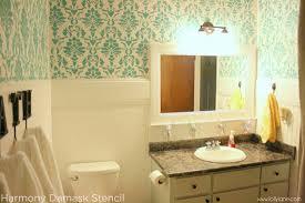 Diy Bathroom Makeovers - harmony damask stenciled bathroom makeover stencil stories
