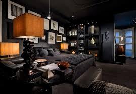 Man Bedroom by Wooden Polish Frame Bed Brown Varnished Furniture Decorating Man