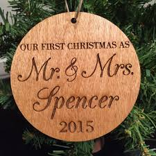 first married christmas wood ornament by 55onlineboutique on etsy