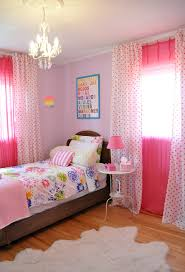 Pink And Teal Curtains Decorating Bedroom Simple Bedroom With Pink Wall Color And Polka Dots