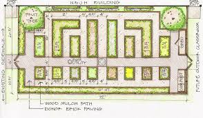 a rendering shows the proposed layout of a new teaching garden at