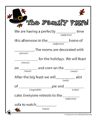 thanksgiving mad libs thanksgiving mad lib the family trip