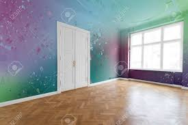 colored walls paint splashes on colored walls in renovated flat stock photo