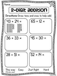 2 digit addition worksheets where students draw place value base