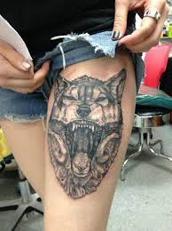 wolf tattoos on thigh awesome wolf thigh tattoos for and