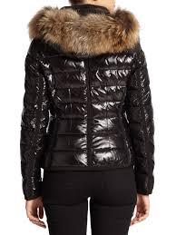 moncler armoise fur trim puffer jacket in black lyst