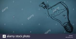 Jumping Light Fish Jumping Out Of Light Bulb Bowl Against Blue Stock Photo