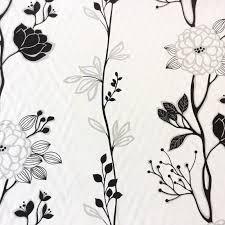 bold graphic floral black ivory grey modern design cotton linen