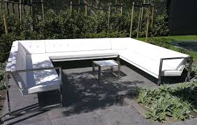 Steel Patio Furniture Sets by Contemporary Bench And Table Set Steel Garden Outdoor Cima