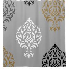 White And Black Damask Curtains Damask Shower Curtains Zazzle