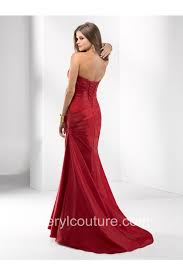 mermaid strapless sweetheart long red taffeta ruched prom dress
