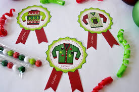 ugly christmas sweater party awards ribbons 1st 2nd and 3rd pl