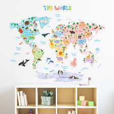 North America Wall Map by Animal World Map Wall Stickers