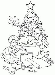 kids under 7 pine trees coloring pages