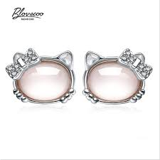 hello earrings fashion brands silver jewelry luxurious pink stud