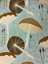 Vintage Drapery Fabric Mushroom Print Linen Cotton Fabric From Loom Textiled