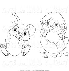 vector cartoon clip art of outlined easter bunnies by pushkin 2070