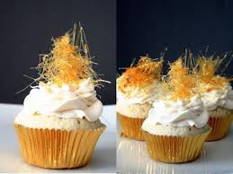 hump day snack champagne cupcakes with spun sugar sparkle