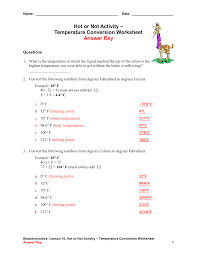 temperature conversion worksheet with answers worksheets