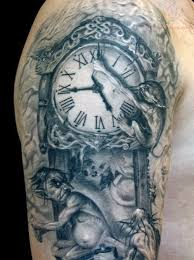 clock and roses tattoos on half sleeve photo 5 proyectos que