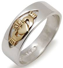 mens claddagh ring silver and gold claddagh ring