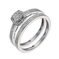 set ring 9ct white gold 0 25ct diamond cushion cluster bridal set ernest