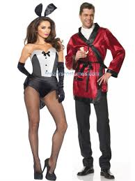 Flapper Gangster Couple Halloween Costumes Hefner Robe Playmate Bunny Couples Halloween Costumes