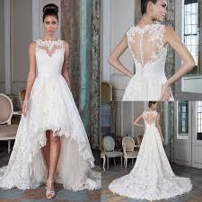 plus size lace a line wedding dresses 2016 high low court train