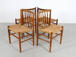 scandinavian dining chairs in oak and paper cord by jørgen bækmark